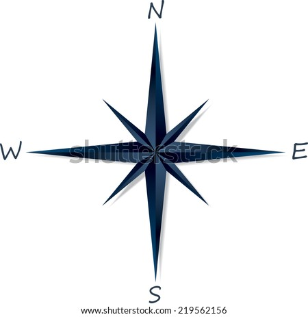 Compass rose on white background . Vector illustration - stock vector