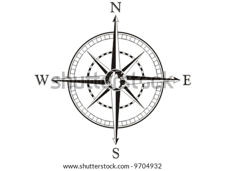 Compass rose. Vector illustration. Black and white. - stock vector