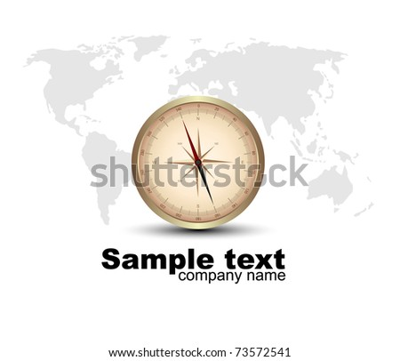compass rose with a map. Vector - stock vector