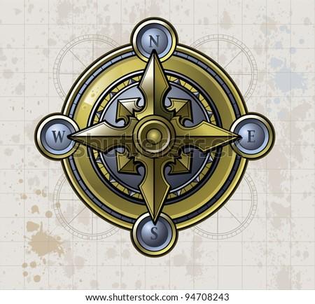 Compass Shiny - stock vector
