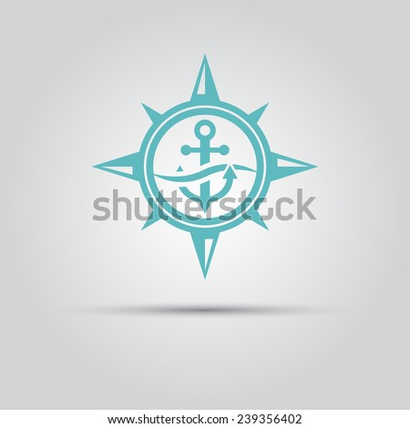 compass star within which the anchor under a wave vector isolated logo - stock vector