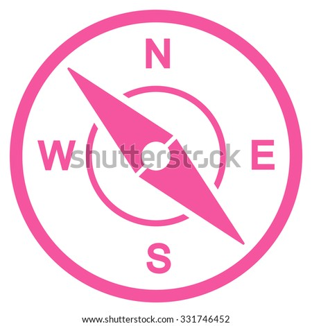 Compass vector icon. Style is flat symbol, pink color, rounded angles, white background. - stock vector