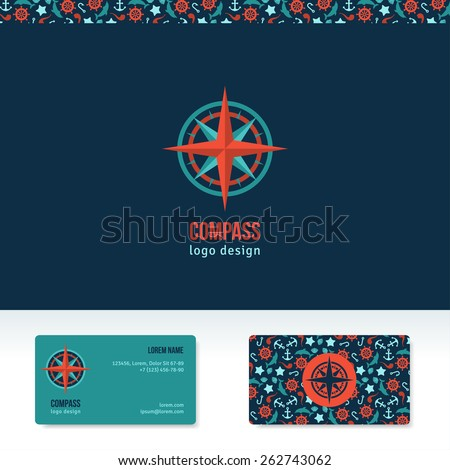 Compass vector logo design template. Travel agency abstract logo idea. Creative icon. Business card template with marine symbols pattern. - stock vector