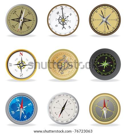 Compass. Vector set - stock vector