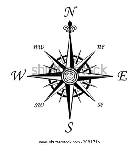 Compass wind rose - 8 directions - vector