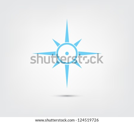 Compass, windrose icon button for websites (UI) or applications (app) for smartphones or tablets. Sail, sailing, marine, nautic, nautical, marine Clean and modern style design - stock vector