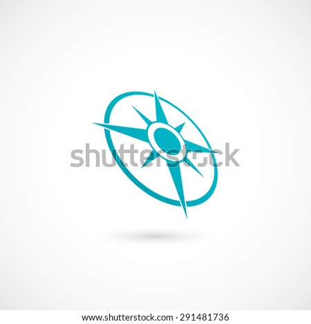 Compass with wind-rose. Isolated on white background. Vector illustration, eps 10. - stock vector