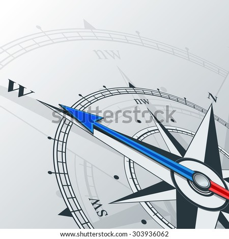 Compass with wind rose, the arrow points to the west. Illustrations can be used as background
