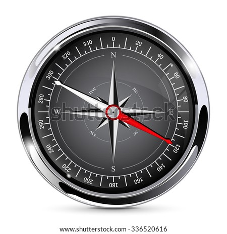 Compass with wind rose. Vector illustration isolated on white background