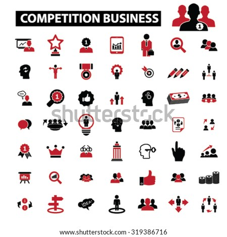 competition business, management icons - stock vector