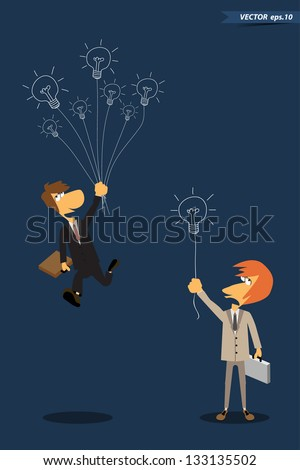 Competition idea concept, businessman with drawing creative light bulb, Vector template design - stock vector