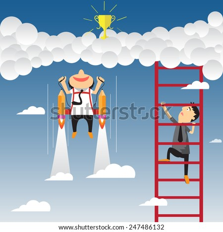 competition in business concept. Cartoon businessman flying with rocket and climbs on the stair of cloud to get success, vector illustration. - stock vector