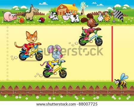 Competition in Farm. Cartoon and vector illustration, isolated objects - stock vector