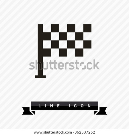 Competition isolated minimal single flat linear icon. Checkered Flag line vector icon for websites and mobile minimalistic flat design. - stock vector