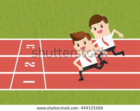 competition of business people running on red running track - stock vector