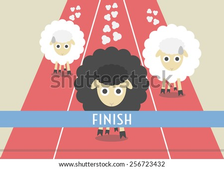 competition of sheep. the most powerful black sheep is winner, competitive concept, flat style - stock vector