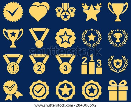 Competition & Success Bicolor Icons. This icon set uses yellow color, rounded angles, blue background. - stock vector