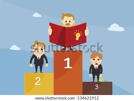 Competition,Winner stand on podium - stock vector