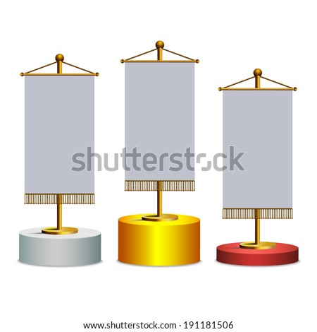 Competition,Winner stand on podium with flags - stock vector