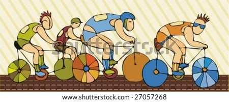 Competitions of bicyclists - stock vector