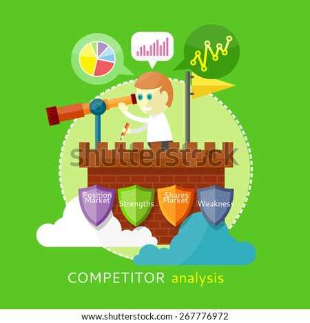 Competitor analysis concept of position market, strengths, shares market, weakness. Man is standing on the tower and looking through a telescope  and writes the results - stock vector