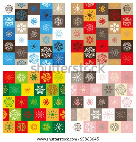Compilation of four seamless patterns - Christmas edition - stock vector