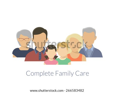Complete family care illustration of parents with children - stock vector