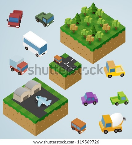 Complete Isometric Tiles series. Vector Illustration - stock vector