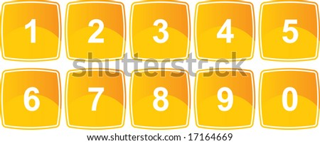 Complete number set on gloss Icons - stock vector