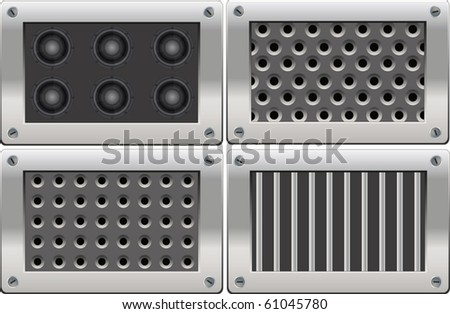 complete set metal  background - stock vector