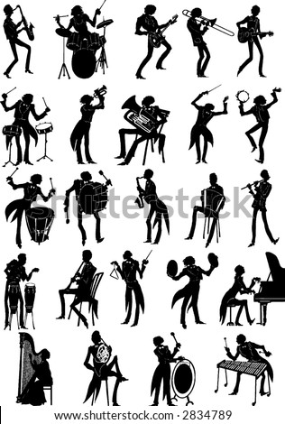 Complete set o musician silhouettes