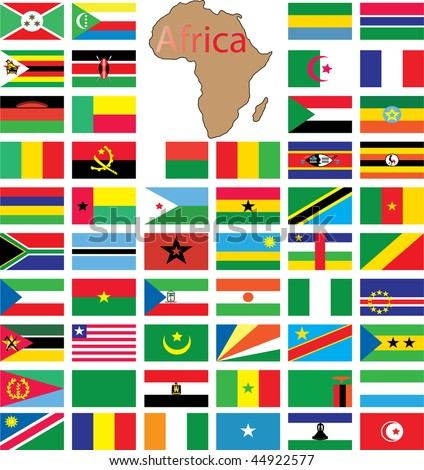 Complete set of african flags - stock vector