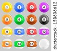 Complete set of American pool ball vector illustrations  - stock vector