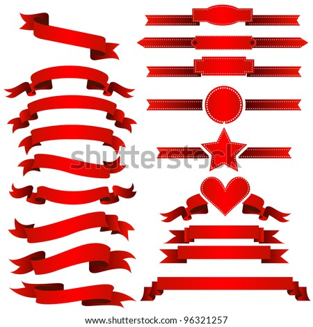 Complete set of banners and ribbons - stock vector