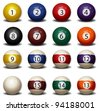 Complete Set of Billiard Balls - stock photo