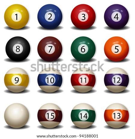 Complete Set of Billiard Balls - stock vector