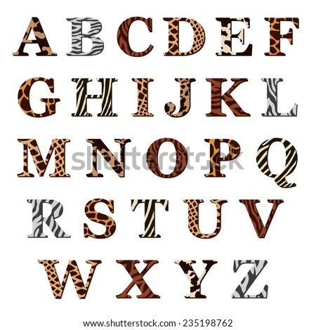 Complete set of colored ornamental uppercase alphabet letters with assorted animal skin or fur patterns in antiqua font, illustration isolated on white - stock vector