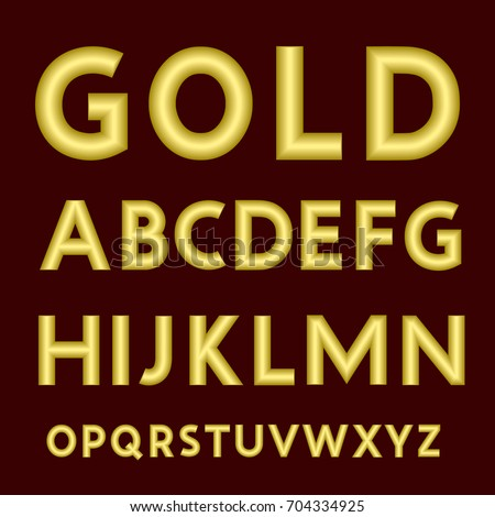 Complete Set Of Latin Letters Made From Gold Thick Wire With A Matte Surface Font