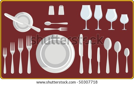 complete set of silverware for dinner in vector design. Dish, knives, spoons and forks. Tableware - stock vector