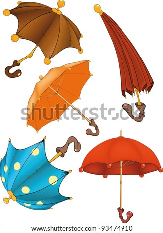 Complete set of umbrellas . Cartoon - stock vector
