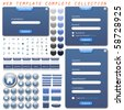Complete web template collection with forms, bars, buttons, icons and chat bubbles. - stock vector