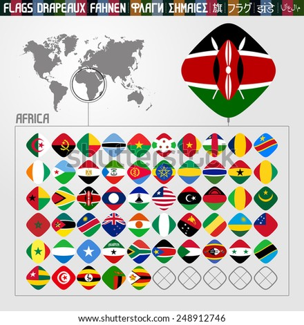 Complete world Flag collection, rhomb shapes, African countries  - stock vector