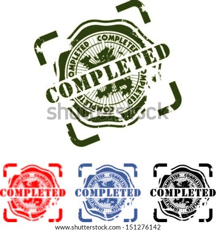 Completed stamp vector - stock vector