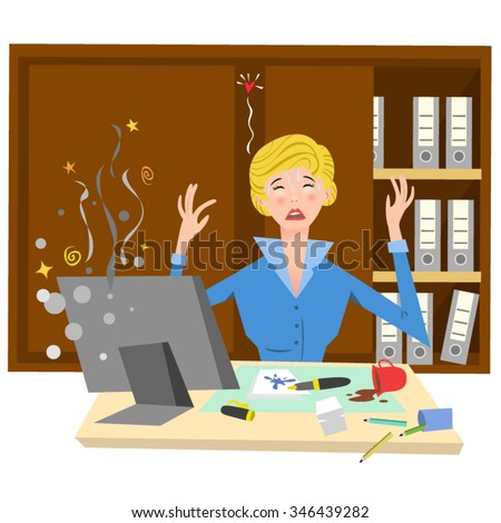 Completely desperate businesswoman crying over her broken computer, sitting at a chaotic desk, filing cabinet in background (Fifties retro style) - stock vector