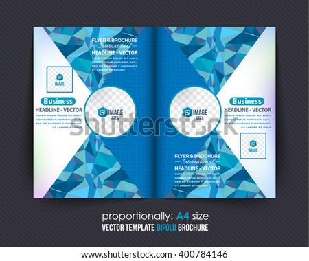 Complex Business Bi-Fold Brochure Design. Corporate Leaflet, Cover Template, Blue Colors Low Poly Elements - stock vector