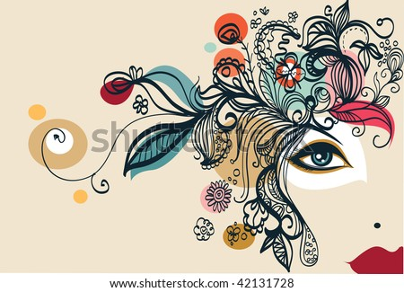 Complex fully hand-drawn fashion beauty concept - stock vector