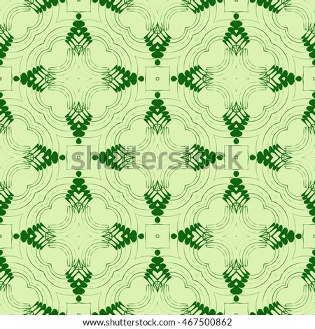 complex geometric pattern of interwoven lines and shapes. seamless texture. for interior design, wallpaper, printing and textiles. green color