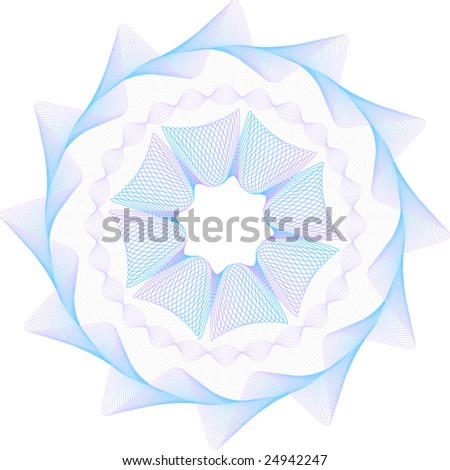 Complex guiiloche rosetta - make your documents secured & hard-to-copy. Easy to adjust color of each element! - stock vector