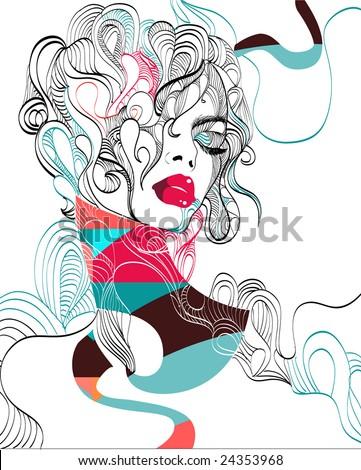 Complex hand-drawn fashion illustration - stock vector
