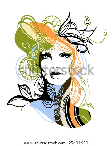 Complex hand-drawn fashion illustration - stock vector